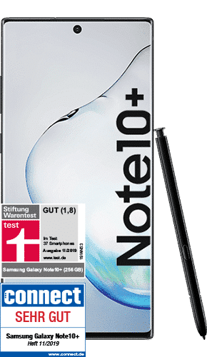 Samsung Galaxy Note10+ Frontalansicht aura black big