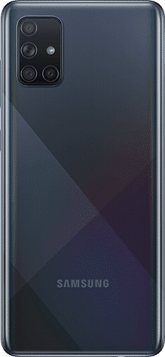 Samsung Galaxy A71 Frontalansicht prism crush black big