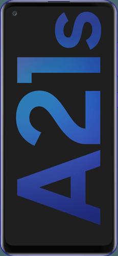 Samsung Galaxy A21s Frontalansicht blue big
