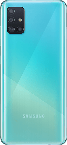 Samsung Galaxy A51 Frontalansicht prism crush blue big