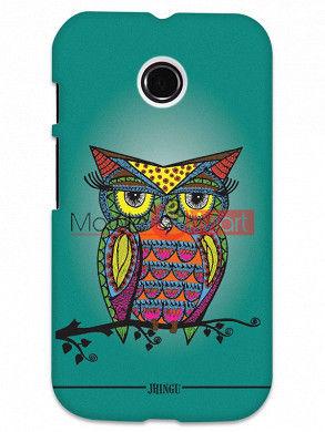 Fancy 3D Colorful Owl Mobile Cover For Motorola Moto E
