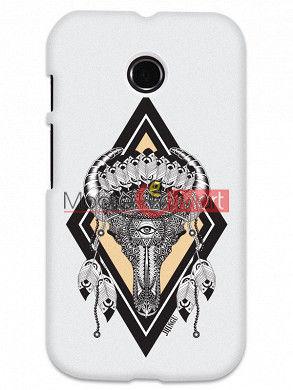 Fancy 3D Buffalo Skull Mobile Cover For Motorola Moto E