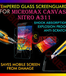 Micromax Canvas Nitro A311 Tempered Glass Scratch Gaurd Screen Protector Toughened Film