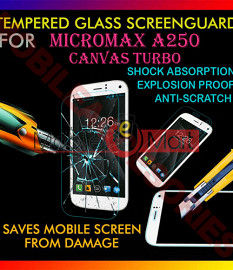 Micromax A250 Canvas Turbo Tempered Glass Scratch Gaurd Screen Protector Toughened Protective Film
