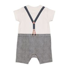 Trompe L'Oeil Bow Tie And Suspenders Romper