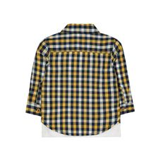 Yellow Check Shirt And Animal T-Shirt