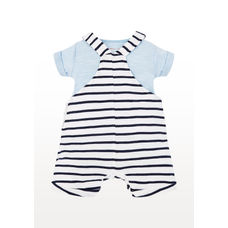 Stripe Boat Bibshorts And Blue Bodysuit Set