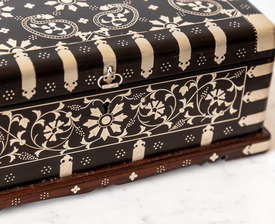 British Colonial Ebony Box inlaid with Silver