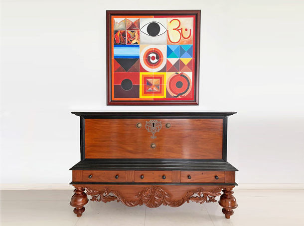 Antiques and Masters of Indian Art - Mahogany Chest and R.H. Raza Painting - The Past Perfect Collection - Singapore