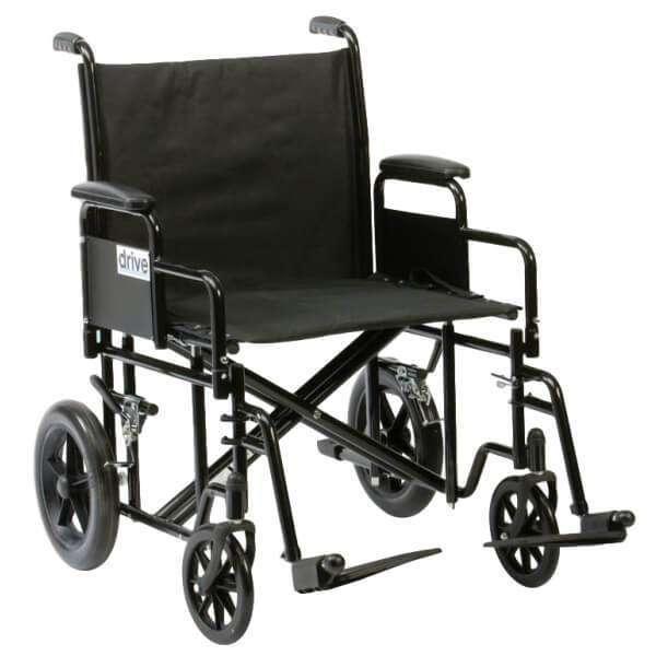 DRIVE Heavy Duty Bariatric Steel Transport Wheelchair BTR22BLKAU