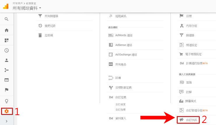 Google Analytics快訊設定
