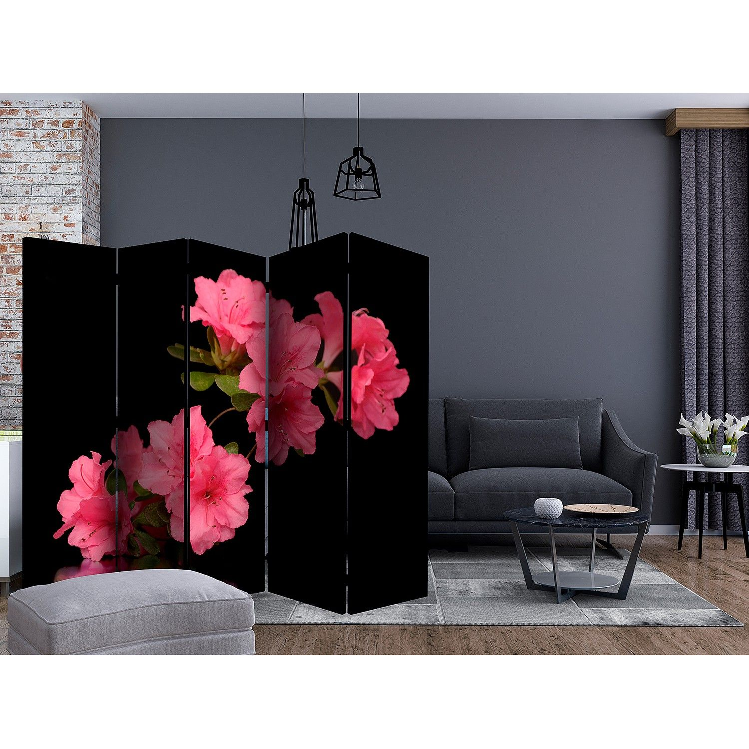 Kamerscherm Azalea in Black (5-delig), home24