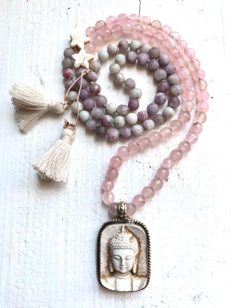 Mala Forgive Yourself mit Rosenquarz, Pink Turmalin und Buddhaanhänger aus Nepal für Selbstliebe und Selbstvergebung