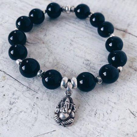Armband mit Ganeshaanhänger und Turmalin, schützt vor negativen Energien und Stillstand, hilft Hindernisse auf Deinem Weg zu beseitigen