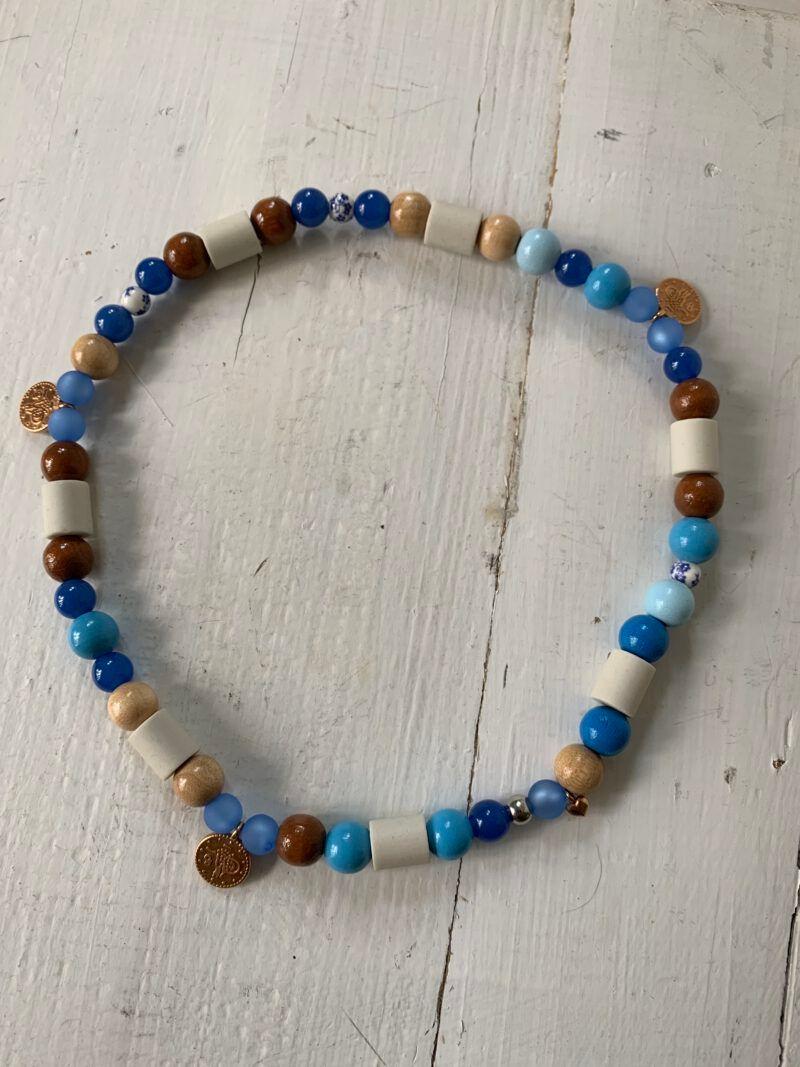 Antizecken-Halskette mit EM-Perlen und Blauachat für Halt und Stabilität