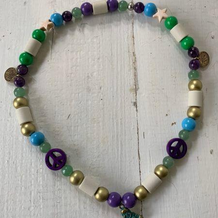 Antizecken-Halskette mit EM-Perlen, Ametyst und Aventurin, wirkt beruhigend und entspannend