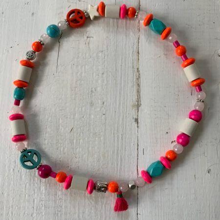 Antizecken-Halskette mit EM-Perlen und Rosenquarz, wirkt ausgleichend und harmonisierend