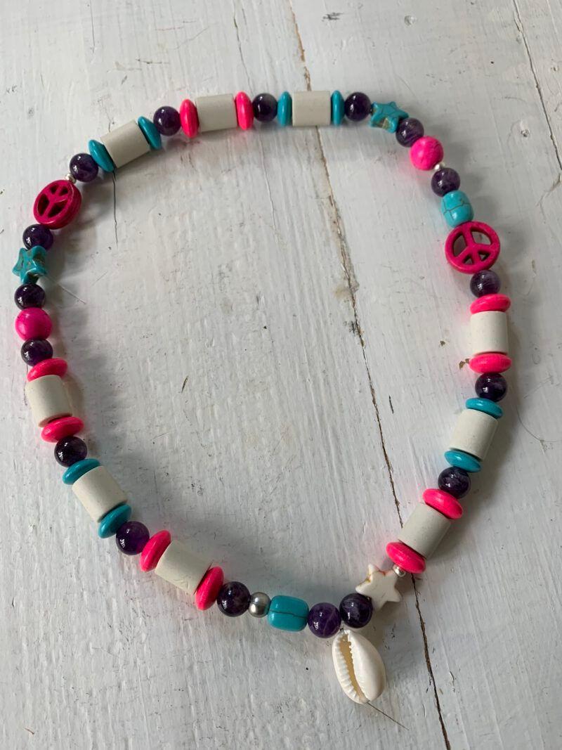 Antizecken-Halskette mit EM-Perlen und Amethyst, wirkt beruhigend und entspannend
