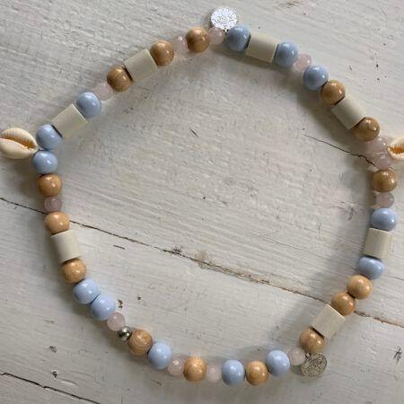 Antizecken Halskette mit EM-Perlen und Rosenquarz, wirkt harmonisierend und ausgleichend