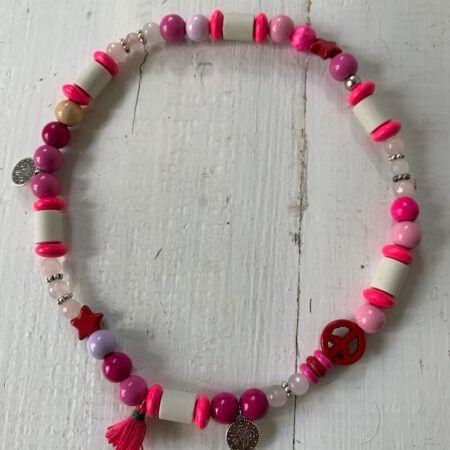 Antizecken-Halskette mit EM-Perlen und Rosenquarz, wirkt harmonisierend und ausgleichend