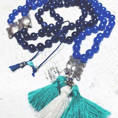 """""""Ozean""""-Mala mit Blauachat, Sodalith und Schildkröten aus Hill Tribe Silber, 108 Perlen, gut zum Meditieren, spiritueller Schmuck von dive to the moon"""