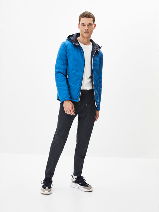 Blue Solid Straight Fit Bomber Jacket