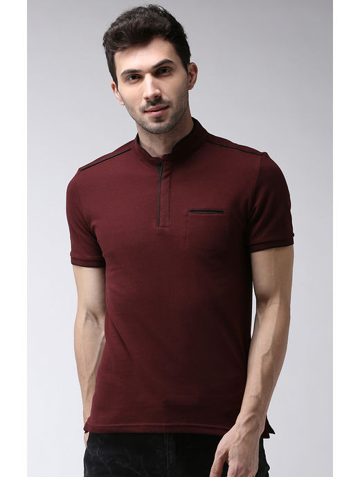 Burgundy Solid Slim Fit Polo T-Shirt