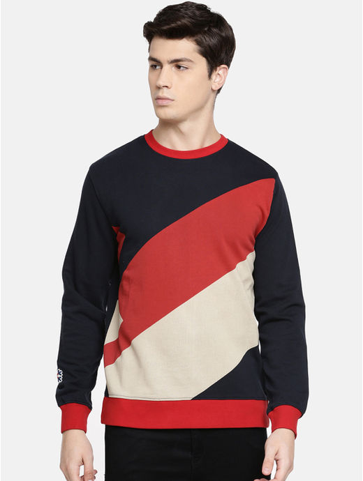 Red Colourblock Sweatshirt