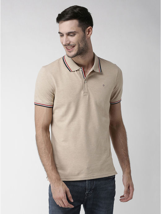 Brown Solid Regular Fit Polo T-Shirt