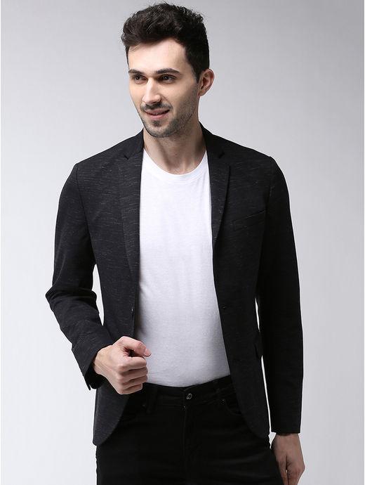 Black Solid Slim Fit Blazer