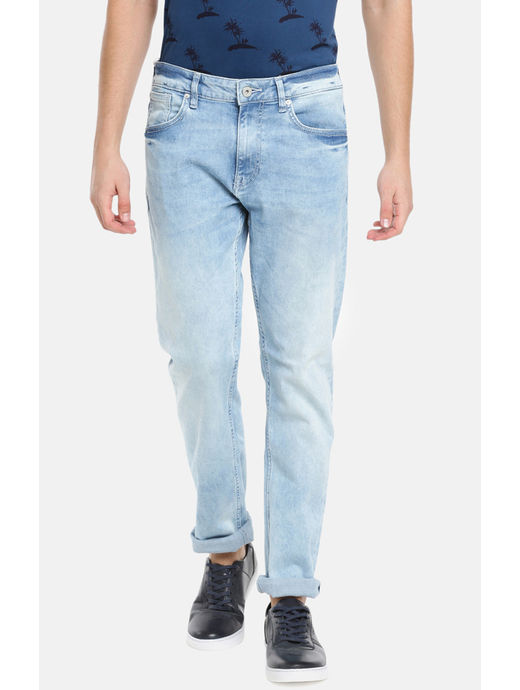 Light Blue Solid Straight Fit Jeans