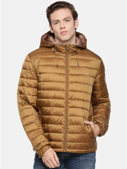 Brown Solid Straight Fit Bomber Jacket