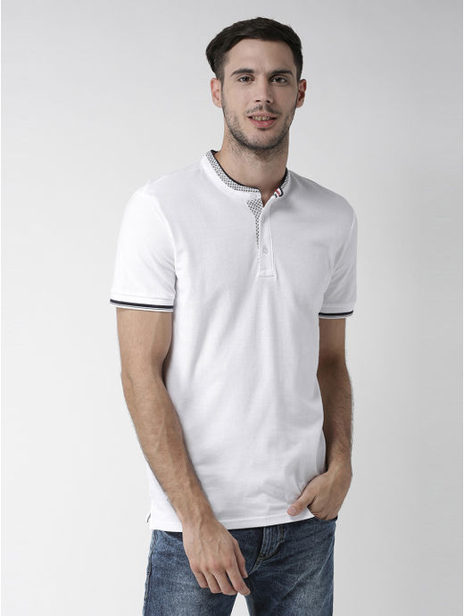 Optical White Solid Polo T-Shirt