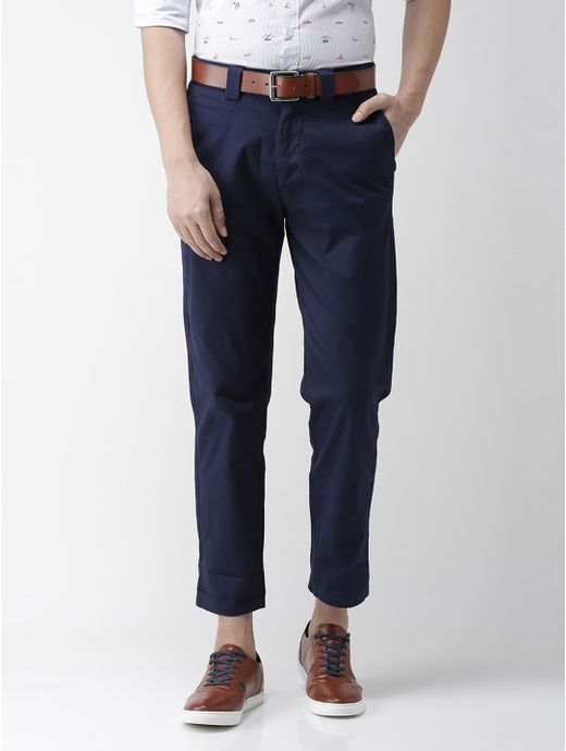 Navy Solid Straight Chinos
