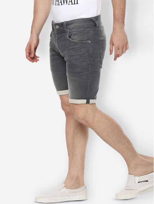 Grey Solid Shorts