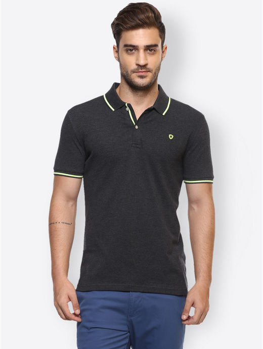 Black Melange Polo T-Shirt