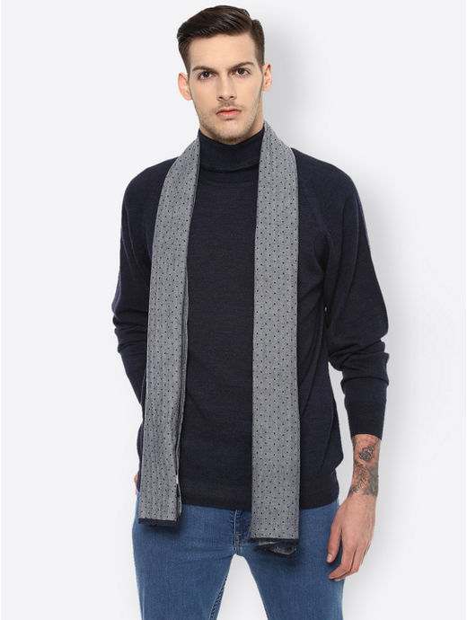 Navy and Grey Printed Stole