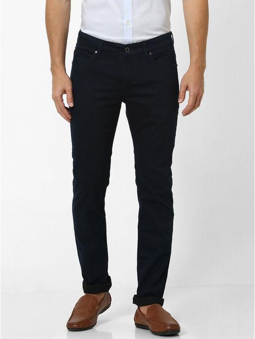 Stay Dark Navy Solid Slim Fit Jeans
