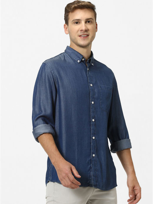 Indigo Solid Regular Fit Casual Shirt