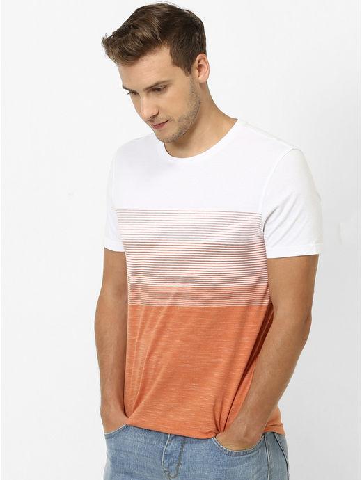 Orange Striped Straight Fit T-Shirt