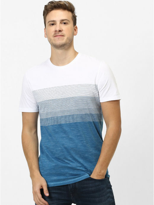 Blue Striped Straight Fit T-Shirt