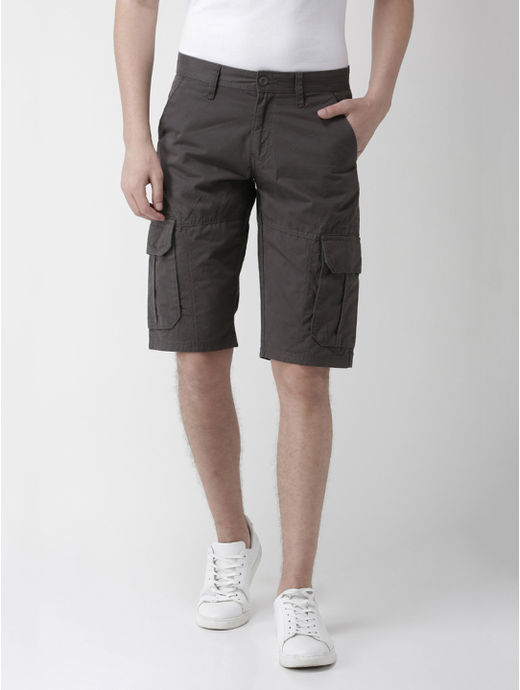 Grey Solid Regular Fit Shorts