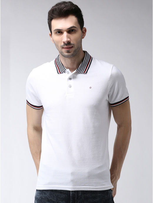 White Solid Polo Slim Fit T-Shirt