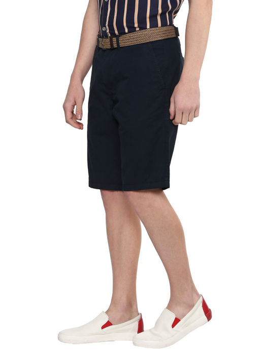 Prussian Blue Solid Shorts