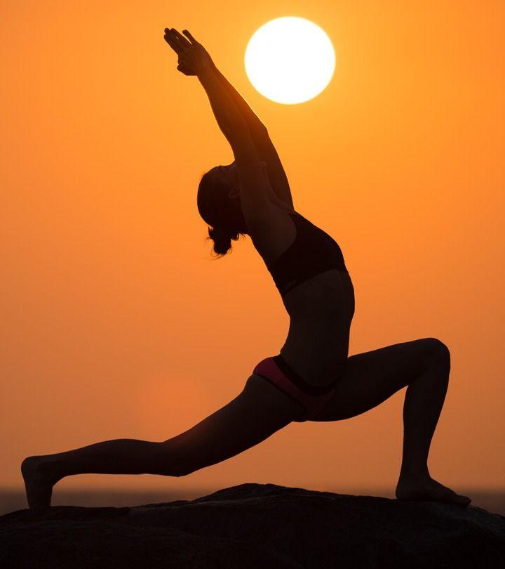 yoga pose with sun