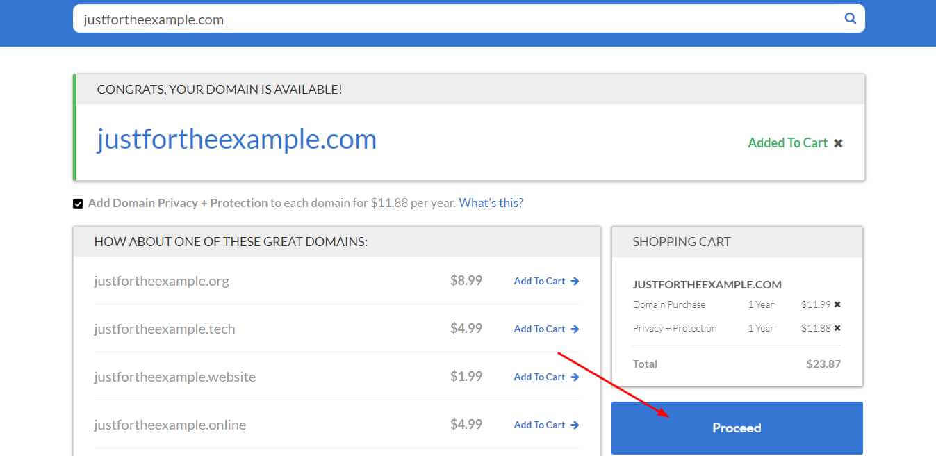 Cart Page BlueHost
