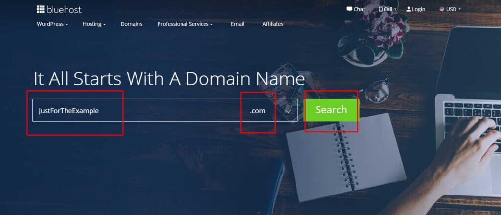 Search Domain Name on BlueHost