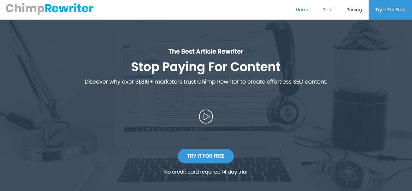 chimp rewriter paraphrasing tool