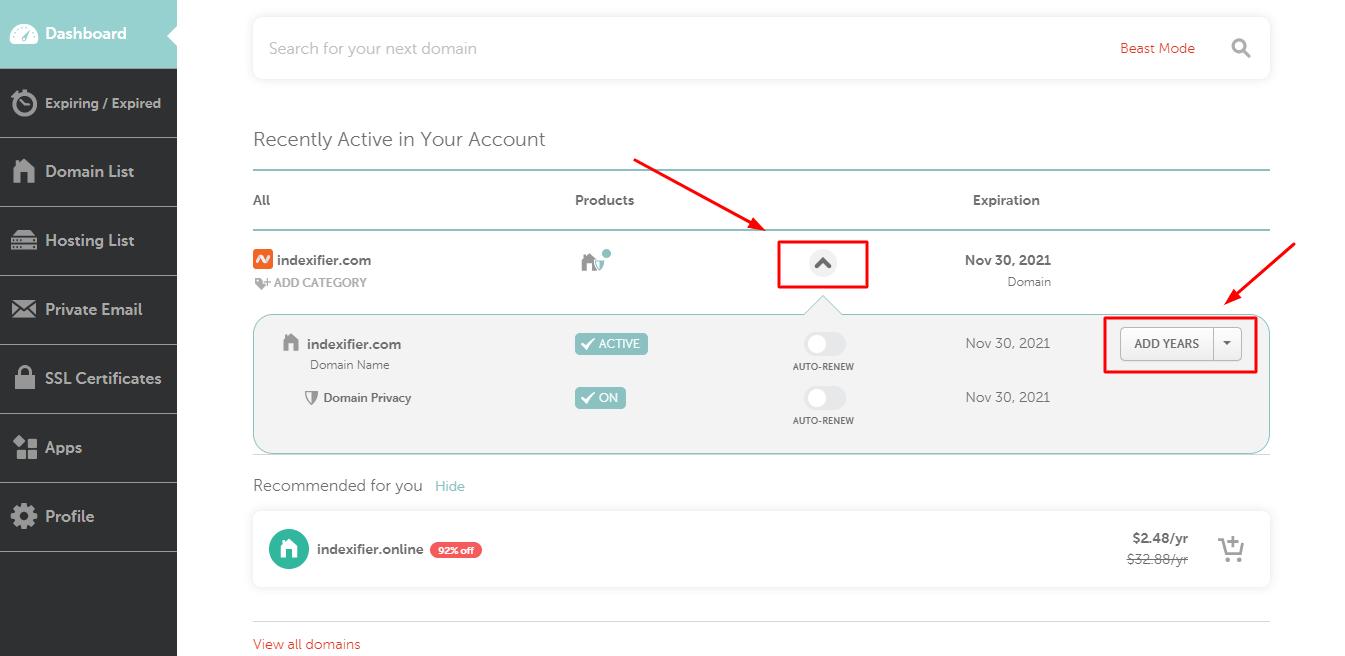 renew domain on namecheap