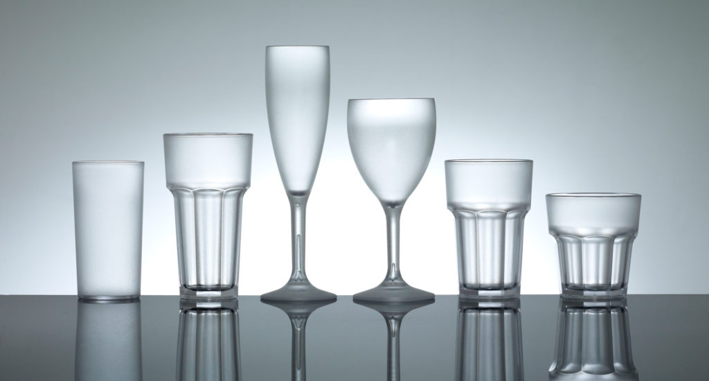 A group of empty frosted glasses of polycarbonate plastic glasses from Barcompagniet